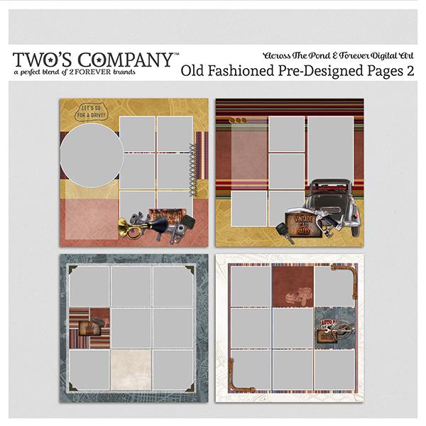 Old Fashioned Pre-Designed Pages 2 Digital Art - Digital Scrapbooking Kits