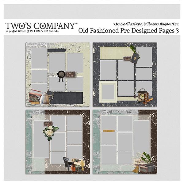 Old Fashioned Pre-Designed Pages 3 Digital Art - Digital Scrapbooking Kits