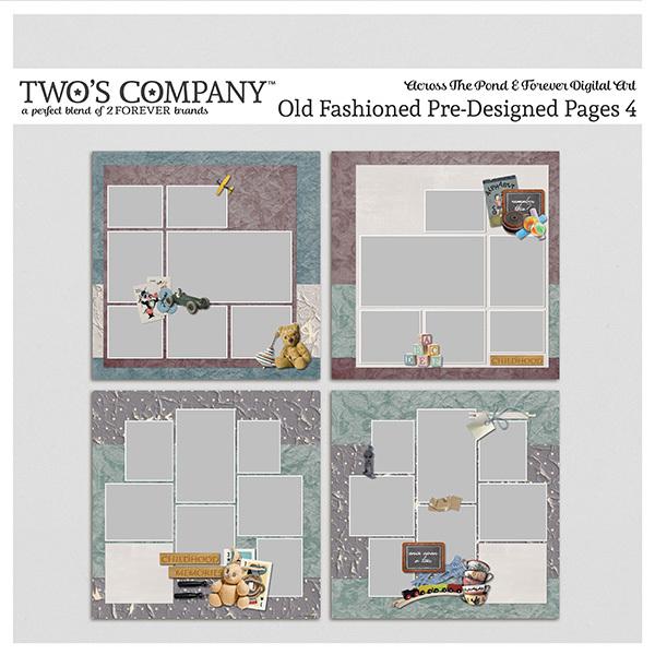 Old Fashioned Pre-Designed Pages 4 Digital Art - Digital Scrapbooking Kits