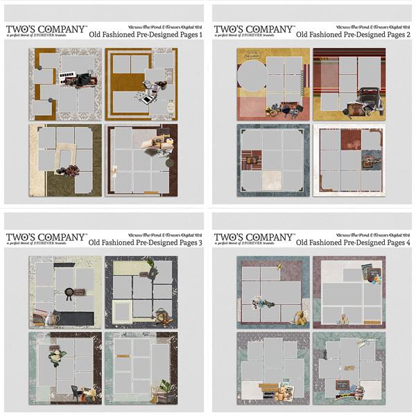 Old Fashioned Pre-Designed Bundle Digital Art - Digital Scrapbooking Kits
