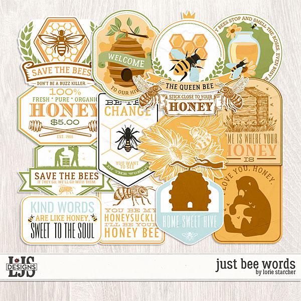 Just Bee Words Digital Art - Digital Scrapbooking Kits