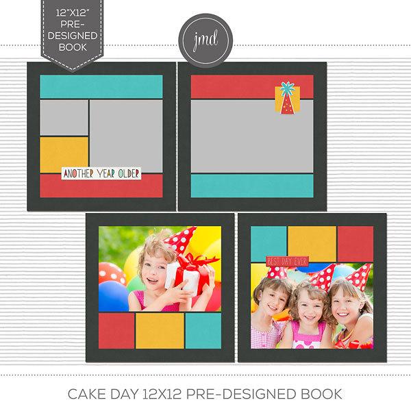 Cake Day 12x12 Pre-Designed Book Digital Art - Digital Scrapbooking Kits