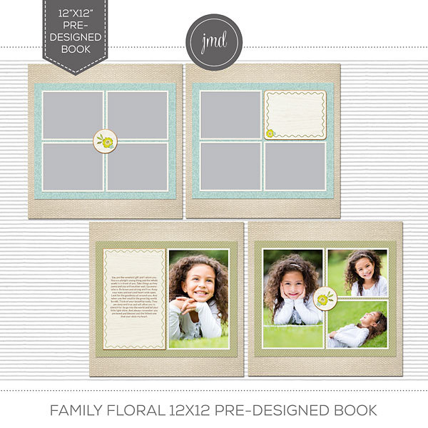 Family Floral 12x12 Pre-Designed Book Digital Art - Digital Scrapbooking Kits