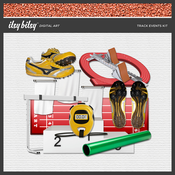 Track Events Kit Digital Art - Digital Scrapbooking Kits