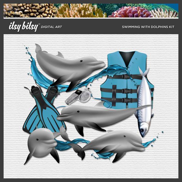 Swimming with Dolphins Kit Digital Art - Digital Scrapbooking Kits