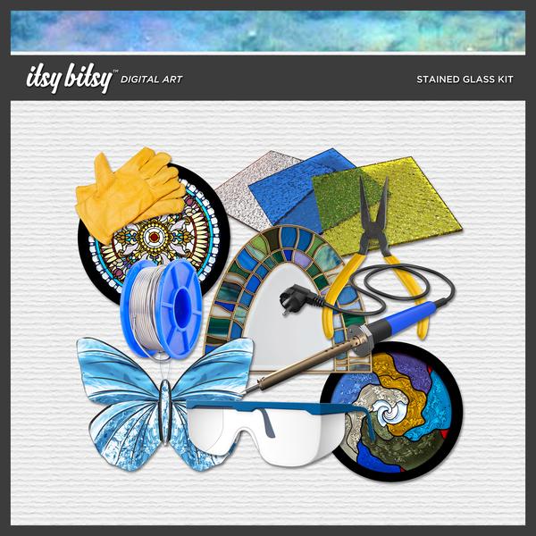 Stained Glass Kit Digital Art - Digital Scrapbooking Kits