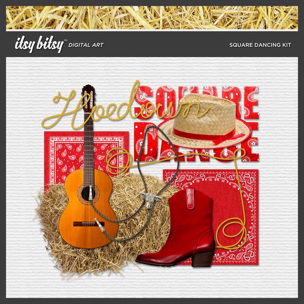 Square Dancing Kit Digital Art - Digital Scrapbooking Kits
