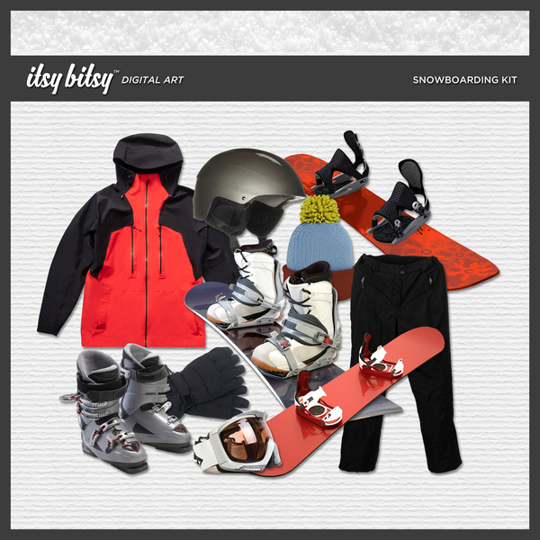 Snowboarding Kit Digital Art - Digital Scrapbooking Kits