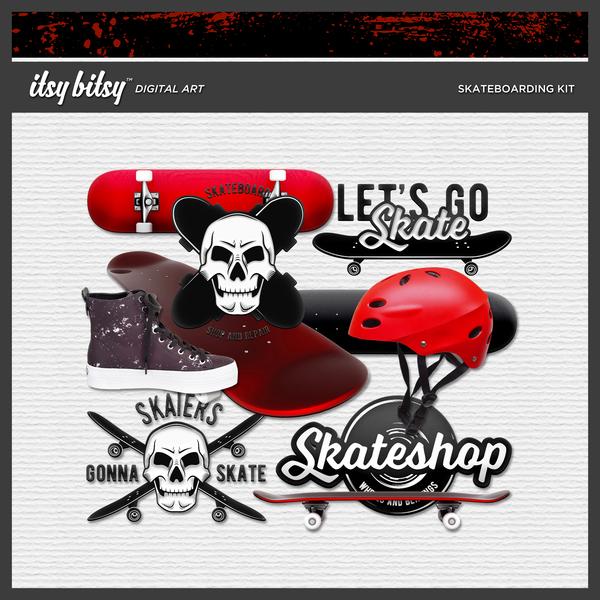 Skateboarding Kit Digital Art - Digital Scrapbooking Kits