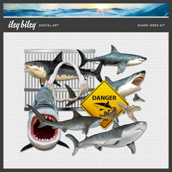 Shark Week Kit Digital Art - Digital Scrapbooking Kits