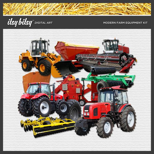 Modern Farm Equipment Kit Digital Art - Digital Scrapbooking Kits