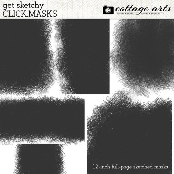 Get Sketchy Click.Masks Digital Art - Digital Scrapbooking Kits