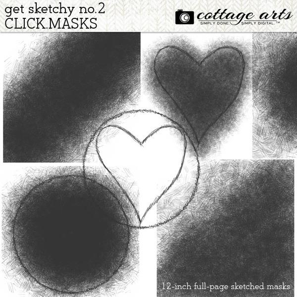 Get Sketchy 2 Click.Masks Digital Art - Digital Scrapbooking Kits