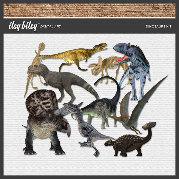 Dinosaurs Kit Digital Art - Digital Scrapbooking Kits