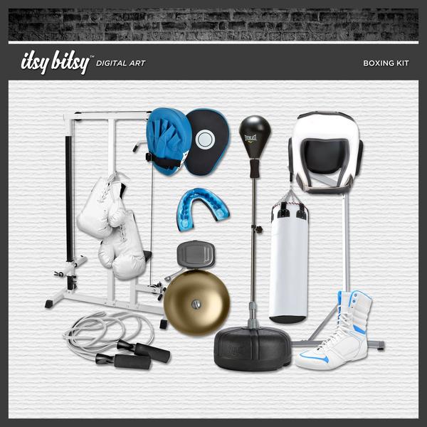 Boxing Kit Digital Art - Digital Scrapbooking Kits