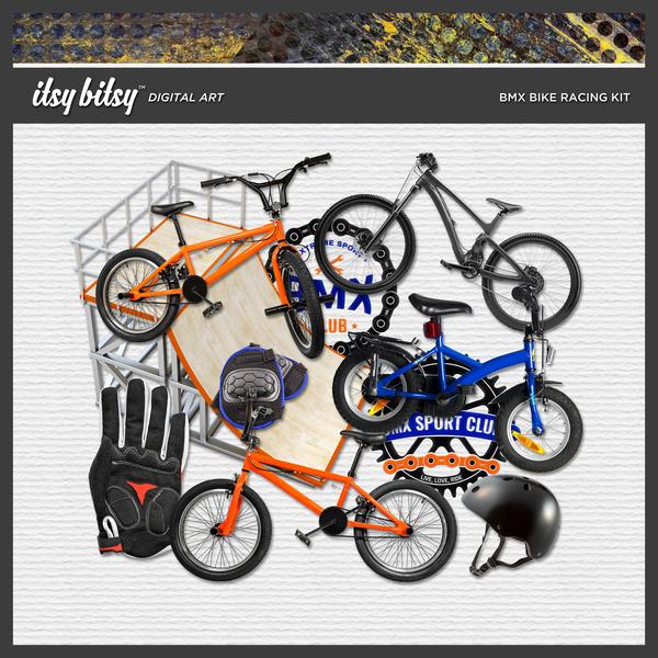BMX Bike Racing Kit Digital Art - Digital Scrapbooking Kits