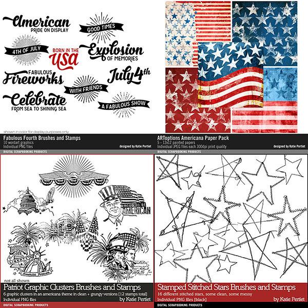 Patriotic Essentials Scrapbooking Bundle Digital Art - Digital Scrapbooking Kits