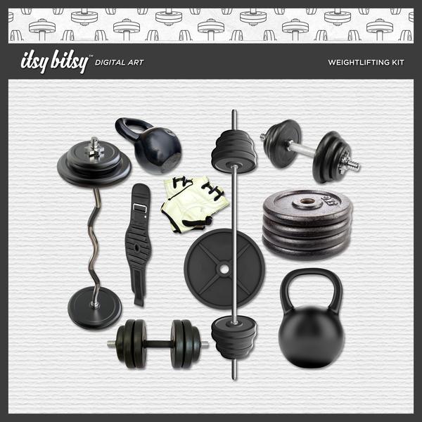 Weightlifting Kit Digital Art - Digital Scrapbooking Kits