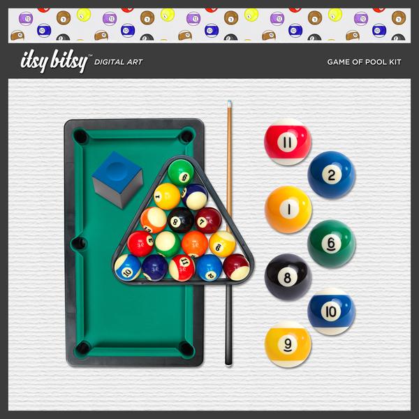 Game of Pool Kit Digital Art - Digital Scrapbooking Kits