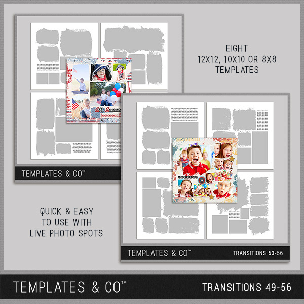 Transitions 49-56 Digital Art - Digital Scrapbooking Kits