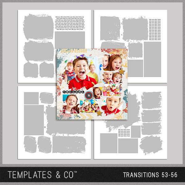 Transitions 53-56 Digital Art - Digital Scrapbooking Kits