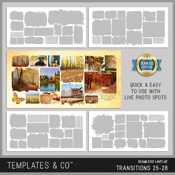 Seamless Layflat Transitions 25-28 Digital Art - Digital Scrapbooking Kits