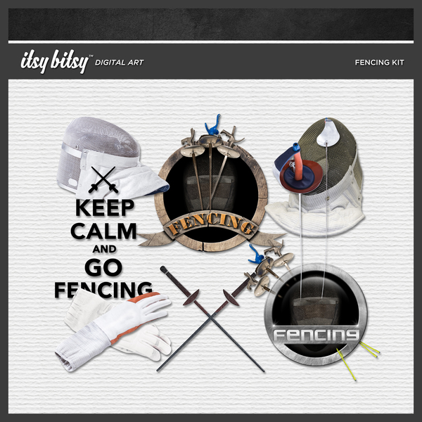 Fencing Kit Digital Art - Digital Scrapbooking Kits