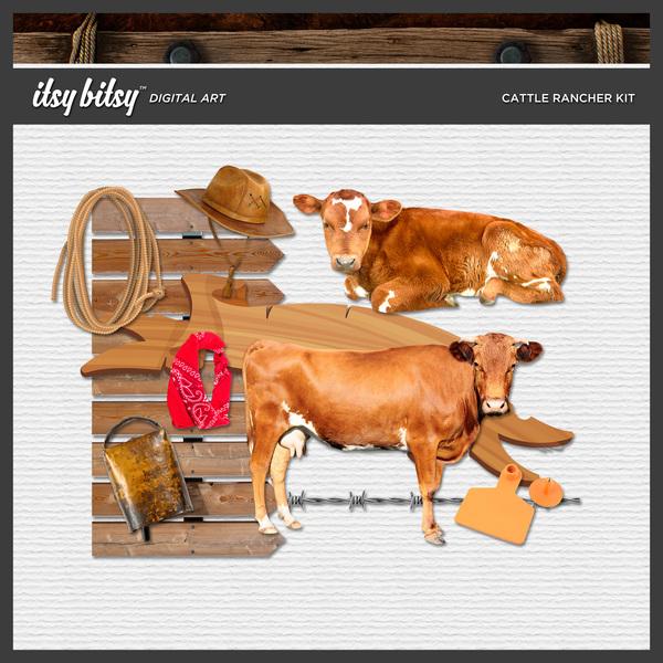 Cattle Rancher Kit Digital Art - Digital Scrapbooking Kits