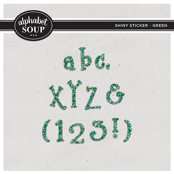 Shiny Sticker Alpha - Green Digital Art - Digital Scrapbooking Kits