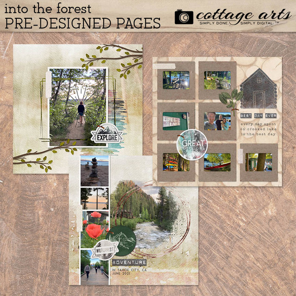Into the Forest Pre-designed Pages Digital Art - Digital Scrapbooking Kits