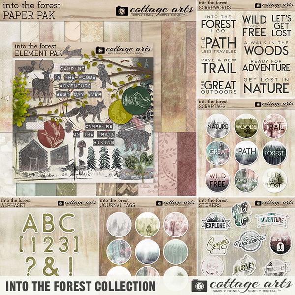 Into the Forest Collection Digital Art - Digital Scrapbooking Kits