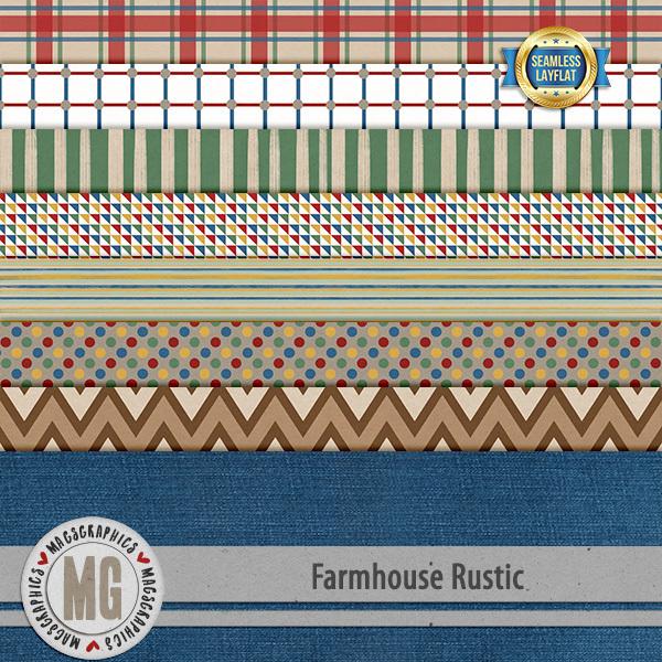 Farmhouse Rustic SLF Papers Digital Art - Digital Scrapbooking Kits