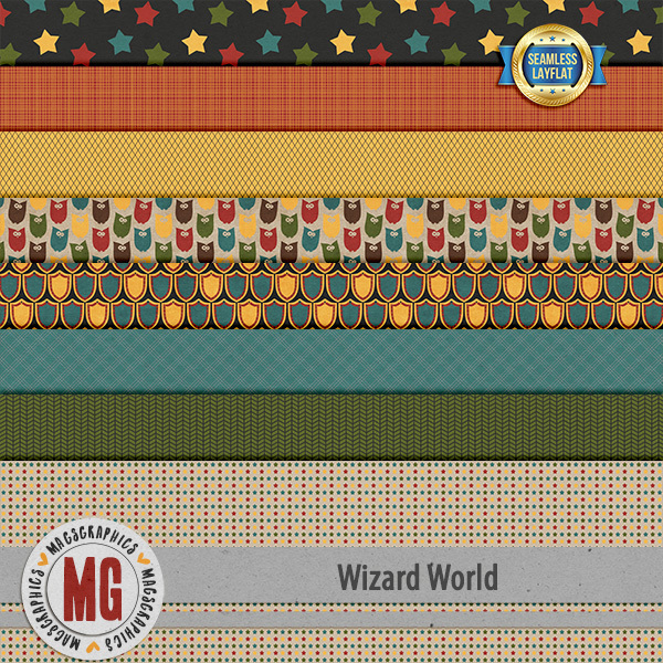 Wizard World SLF Papers Digital Art - Digital Scrapbooking Kits