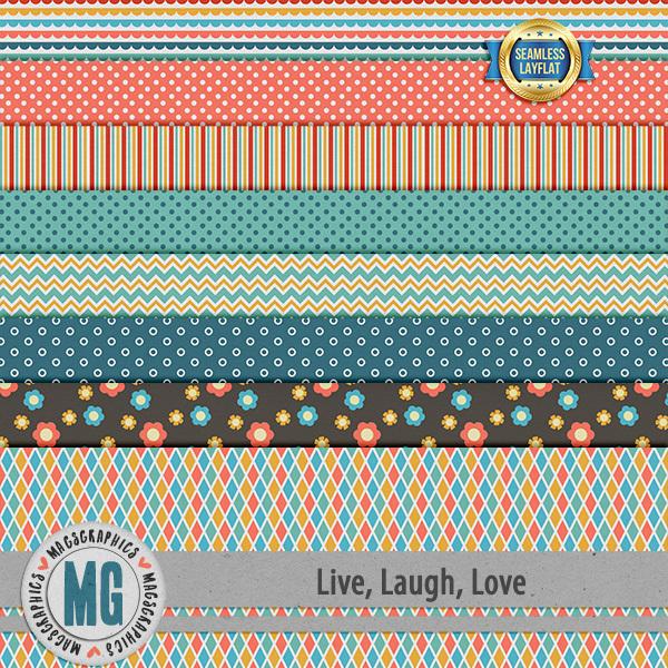 Live, Laugh, Love SLF Papers Digital Art - Digital Scrapbooking Kits