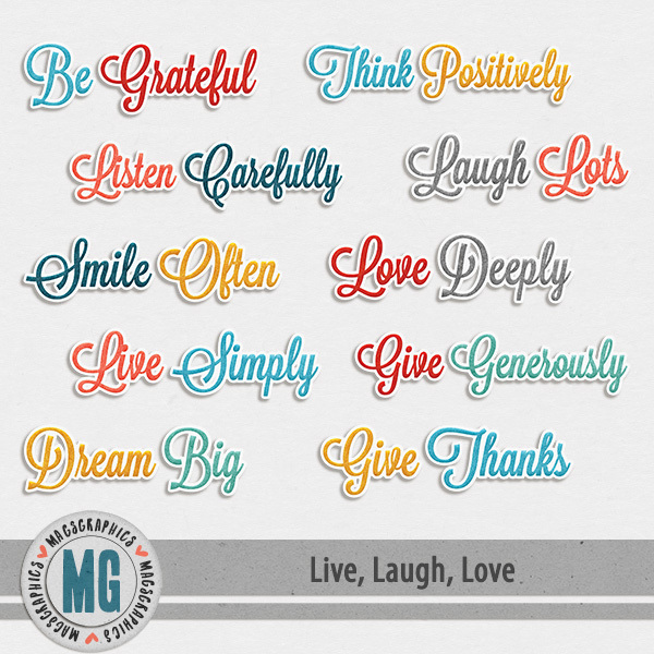 Live, Laugh, Love Titles Digital Art - Digital Scrapbooking Kits