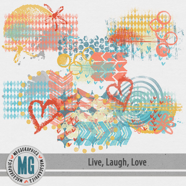 Live, Laugh, Love Hodge Podge Digital Art - Digital Scrapbooking Kits