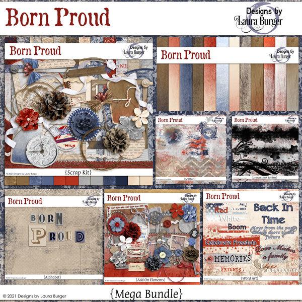 Born Proud Mega Bundle Digital Art - Digital Scrapbooking Kits
