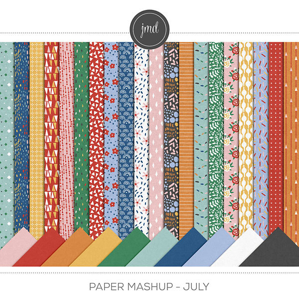 Paper Mashup - July Digital Art - Digital Scrapbooking Kits
