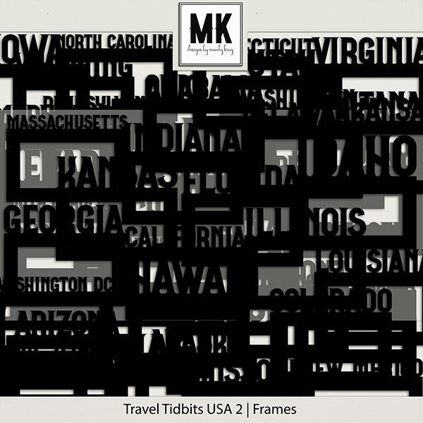 Travel Tidbits USA 2 Frames Digital Art - Digital Scrapbooking Kits