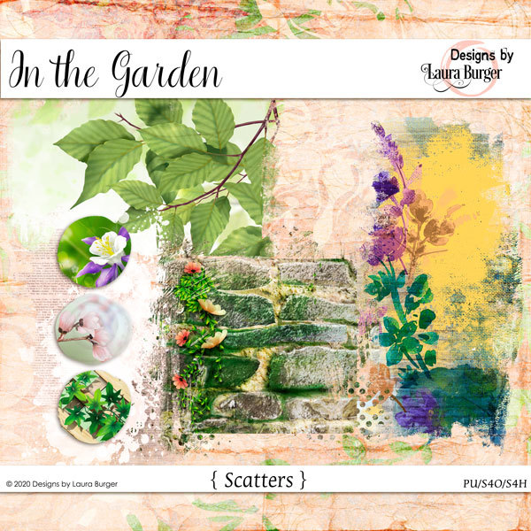 In The Garden Scatters Digital Art - Digital Scrapbooking Kits