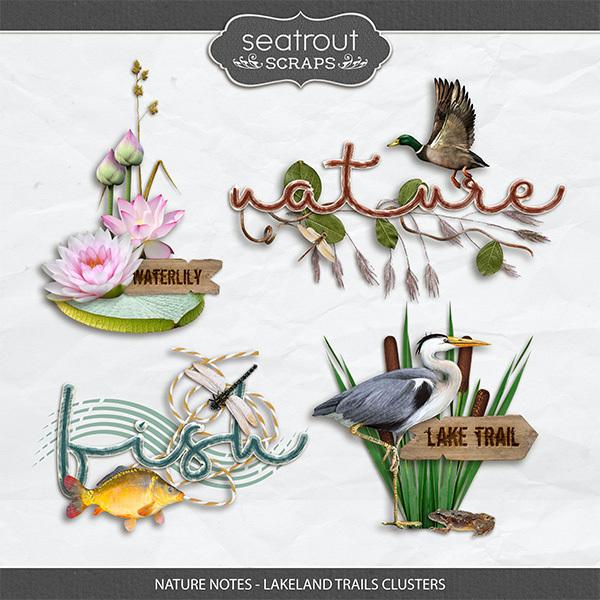 Nature Notes - Lakeland Trails Clusters Digital Art - Digital Scrapbooking Kits