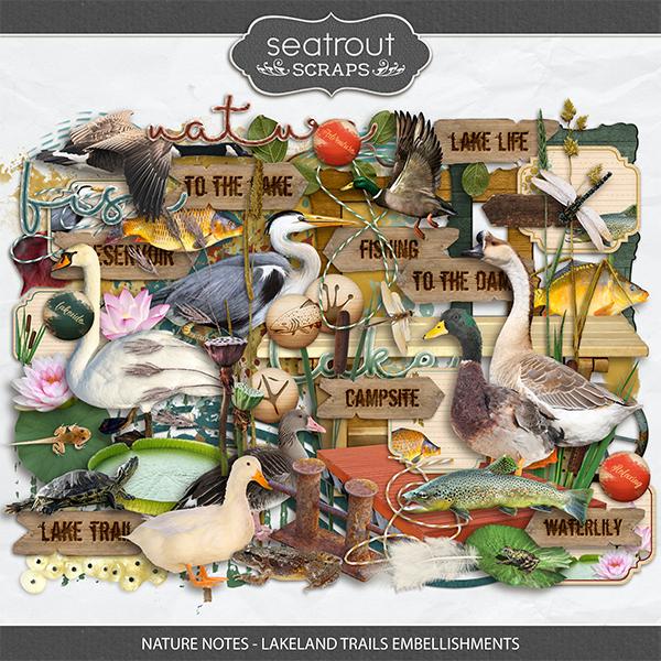 Nature Notes - Lakeland Trails Embellishments Digital Art - Digital Scrapbooking Kits