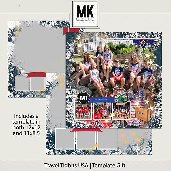 Travel Tidbits USA Template Gift Digital Art - Digital Scrapbooking Kits