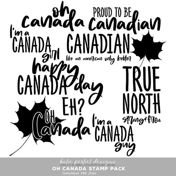 Oh Canada Stamp Pack Digital Art - Digital Scrapbooking Kits