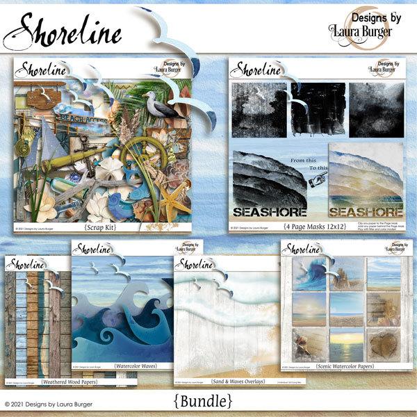 Shoreline Bundle Digital Art - Digital Scrapbooking Kits