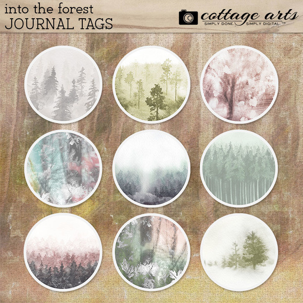 Into the Forest Journal Tags Digital Art - Digital Scrapbooking Kits