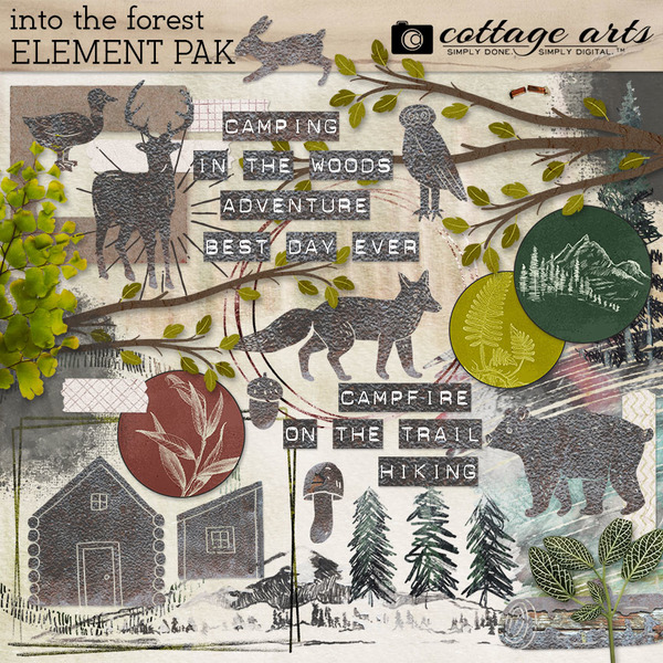 Into the Forest Element Pak Digital Art - Digital Scrapbooking Kits