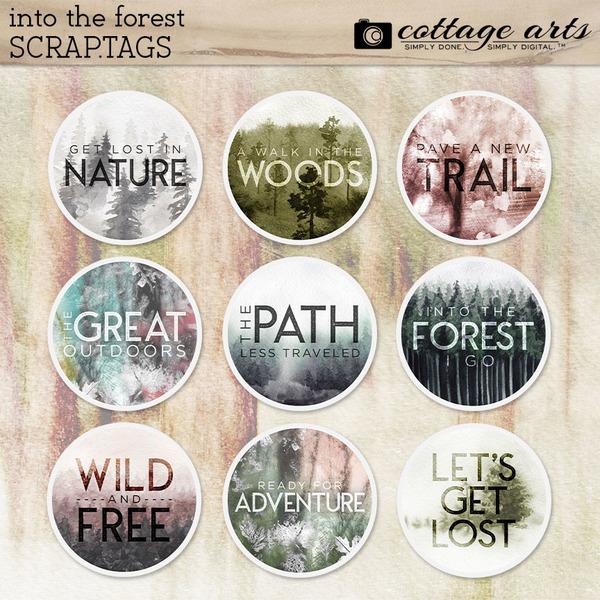 Into the Forest Scrap.Tags Digital Art - Digital Scrapbooking Kits