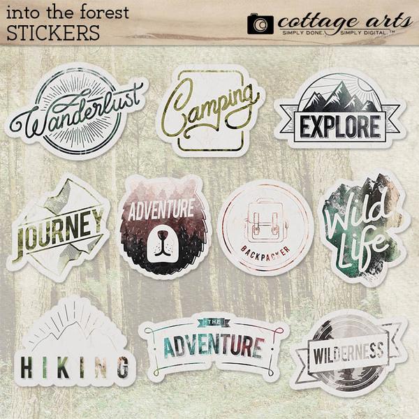 Into the Forest Stickers Digital Art - Digital Scrapbooking Kits