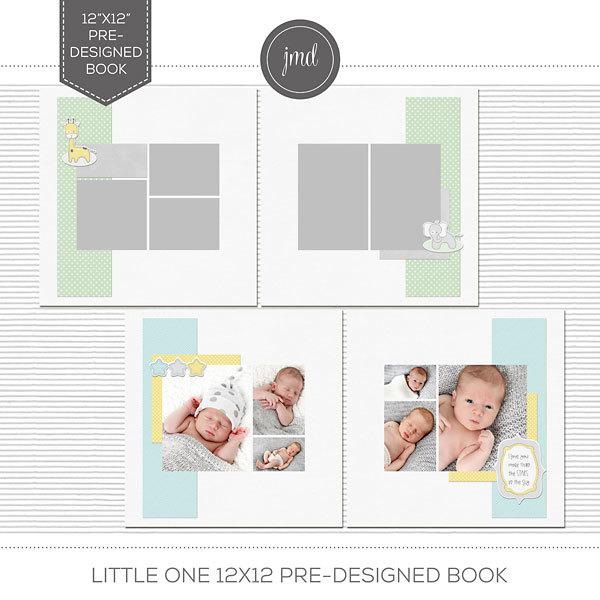 Little One 12x12 Pre-Designed Book Digital Art - Digital Scrapbooking Kits